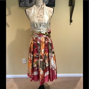 Adrianna Papell halter floral print satin dress